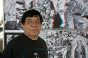 Rene Yañez stands in front of his 3D piece, part of Illuminations: Día de los Muertos 2011 exhibit opening Oct. 7 at SOMArts Cultural Center Bay Gallery.
