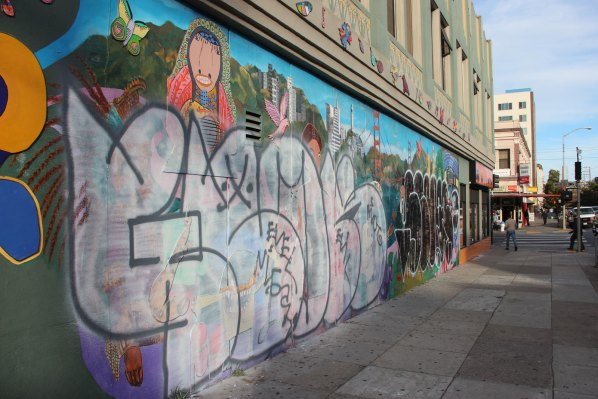 "Graffiti on Susan Green's ""Creativity Explored Project"" on 21st Street."