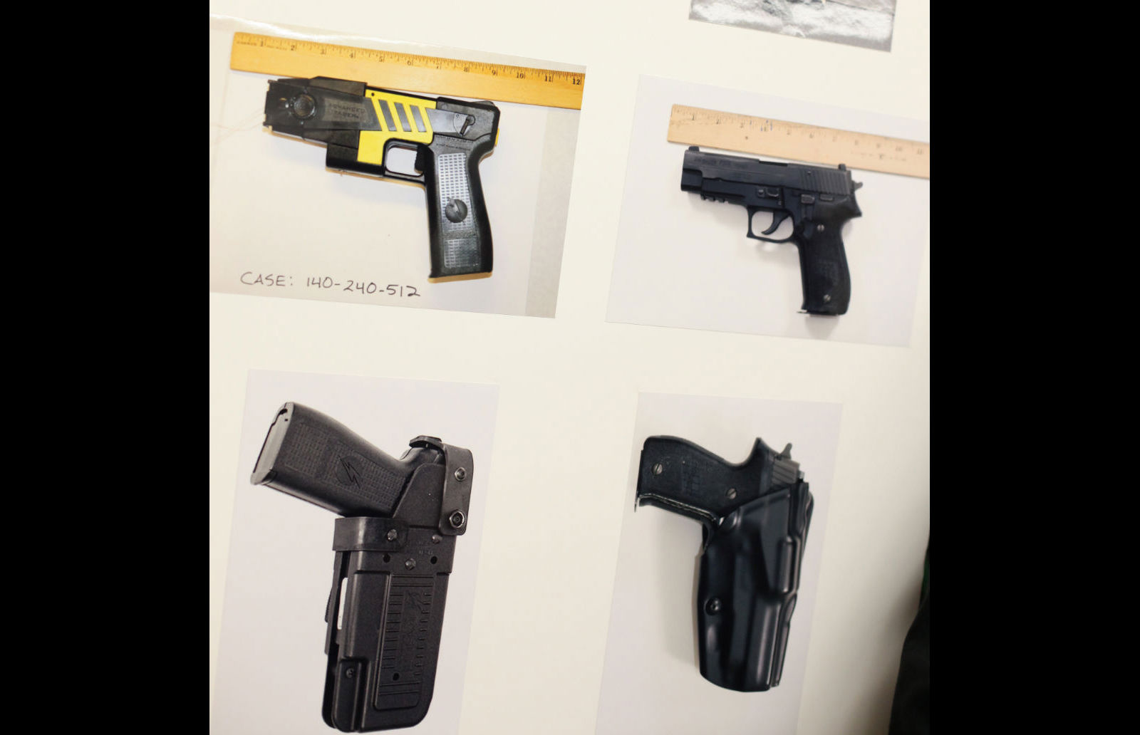 Side-by-side comparison created by SFPD of Taser gun (left column) and standard fire arm (right column) presented during March 2014 community meeting.
