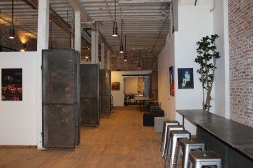 The main hallway in Code and Canvass, a tech-artist collective.