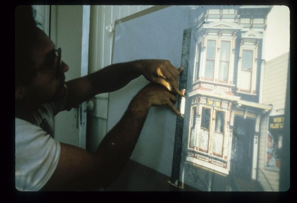 Galvez combined different parts of Dematteis' images to create the mural's final photorealistic look. He then projected and traced the images onto carbon paper as a reference. Photo courtesy Dan Galvez