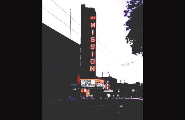 New Mission Theater marquee from 1972. Photo courtesy Jack Tillmany.