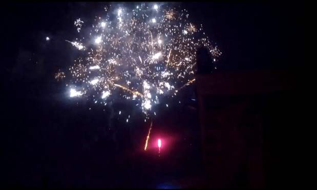 Fireworks at Treat and 25th. Photo by Daniel Hirsch.
