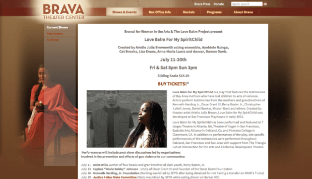 Brava Theater showing Love Balm for My SpiritChild Saturday the 19th at 8 p.m. Screenshot from Brava Theater.