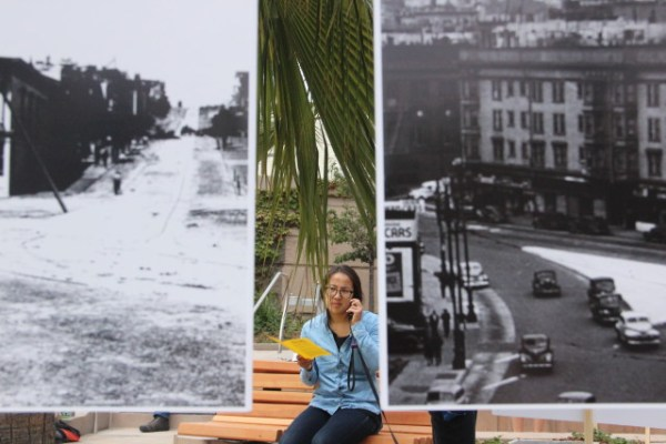 """""""I like to see how vibrant it used to be,"""" said Lauren Young, a market researcher who has lived across from McCoppin Plaza for a year and a half. Photo by Leslie Nguyen-Okwu."""