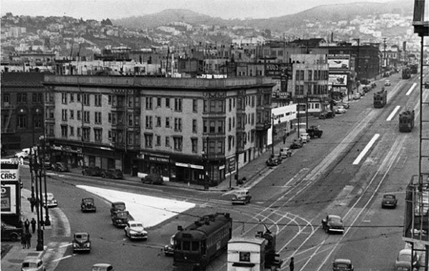 """The heart of the Market Street Hub Neighborhood at Market Street, circa 1945, before its decline in the 1940s when streetcar lines were replaced with diesel buses. Photo courtesy of <a href=""""http://foundsf.org/index.php?title=Market_Street_Hub_Neighborhood/"""">FoundSF</a>"""