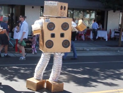 "A robot dancing to A-ha's ""Take on Me"" at Sunday Streets in the Mission. Photo by Joe Rivano Barros and Laura Wenus."