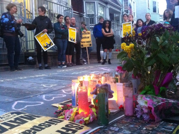 People gathered for a vigil held for Amilcar López Pérez, who was shot and killed by SFPD. Phoyo by Andrea Valencia