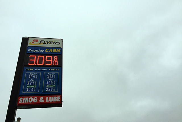 Really? More than $3 a gallon still? Photo by Lydia Chávez