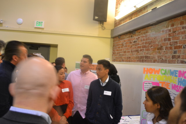 Airis Velasco (far left) and classmates at John O'Connnell presenting to the judges.