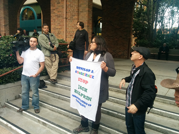Claudia Tirado, one of the tenants whose eviction was quashed, at a outside Google earlier this year