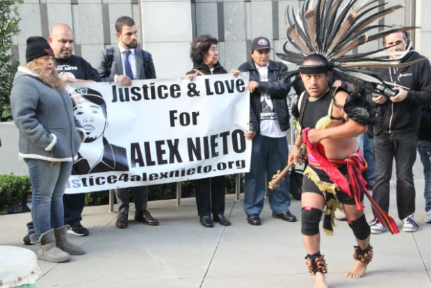 Friends and family of Alex Nieto gathered in front of the Phillip Burton Federal Building on November 9, 2015 to announce the start   date of the civil suit regarding Nieto's killing by SFPD officers. Photo by Laura Waxmann