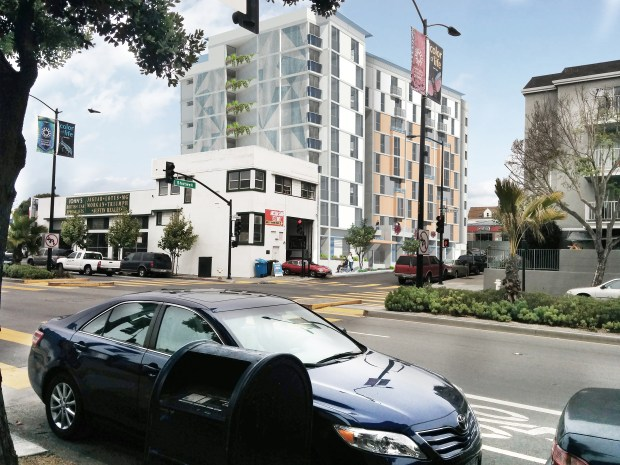 The 1296 Shotwell St. site as seen from the corner of Shotwell and Cesar Chavez streets. Photo courtesy of the Mission Economic Development Agency and Herman Coliver Locust Architecture.