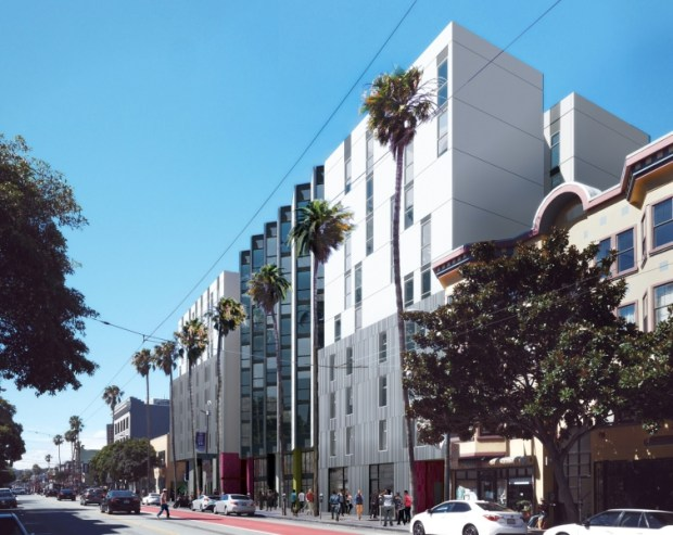 The initial concept for the 157-unit development at 1950 Mission St. Design by David Baker Architects.