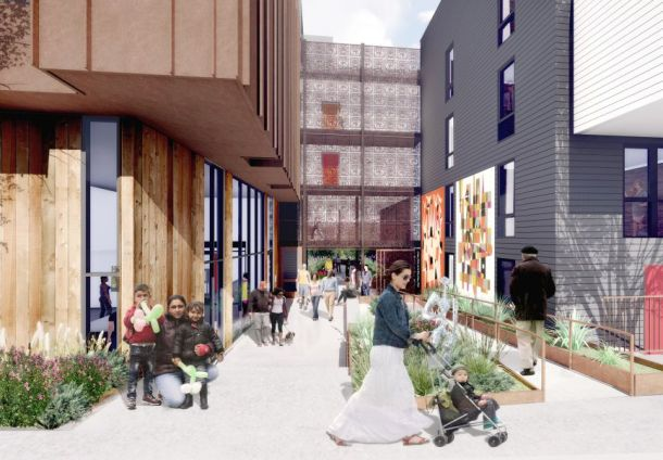 A planned mid-block alley would stretch from Folsom Street to Treat Avenue at 2675 Folsom St. Design by David Backer Architects.