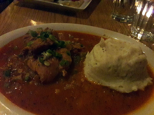 Paprikash chicken with mashed potatoes.