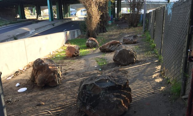 Defensive boulders arrive at a cleared SF homeless encampment