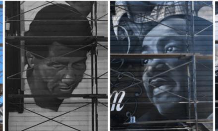 Striking new mural of Gandhi, Cesar Chavez, MLKJ, Mother Teresa is funded by one of Mission's most detested landlords, Kaushik Dattani