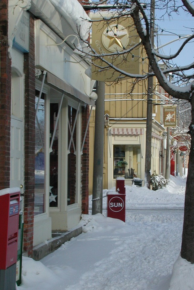 Snowy Downtown Street