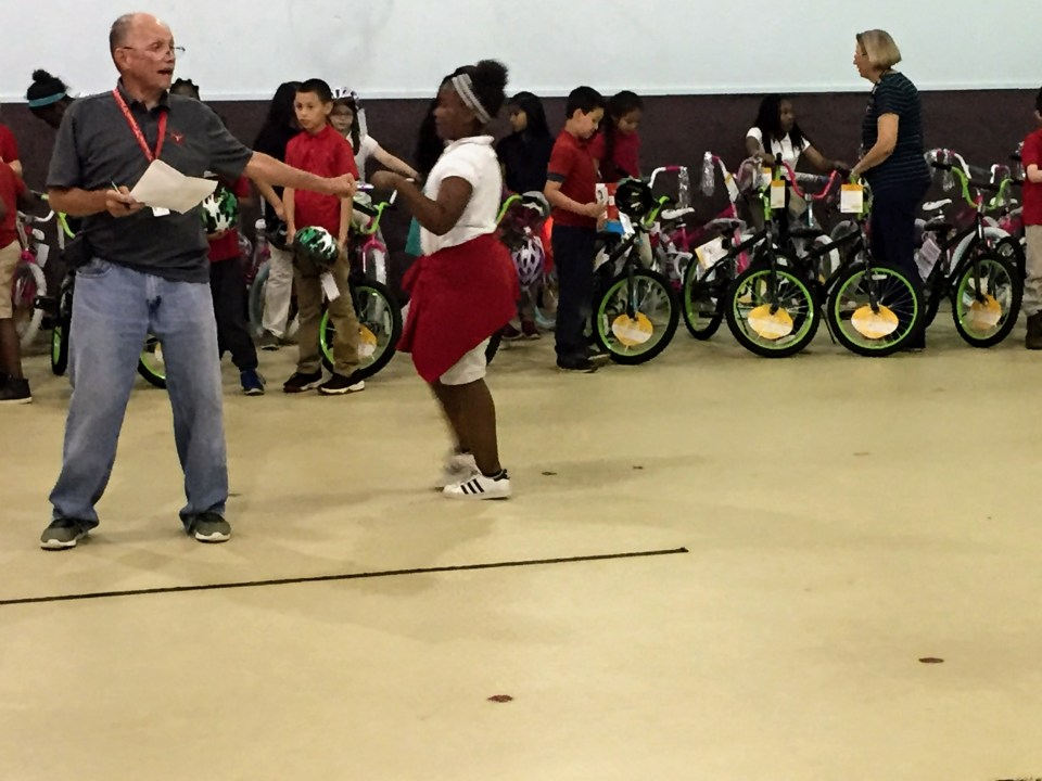 Read to Ride - Mission Marshall - Robert E. Lee Elementary Marshall, TX - David Simpson Principal Students Receiving Bicycles