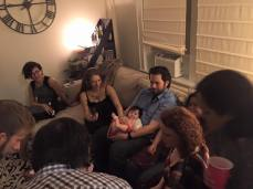 Everyone swarmed around Kristine and Jason's newest addition: Keilani