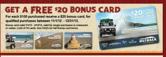 Outback Steakhouse Gift Card Bonus Offer