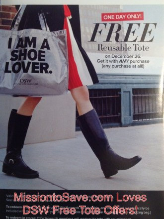 DSW Free Reusable Tote 12/126/12