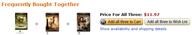 Lord of the Rings Trilogy DVDs for $11.97