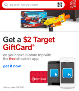 target gift card from shopkick