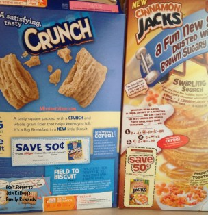 Kelloggs cereal box coupons