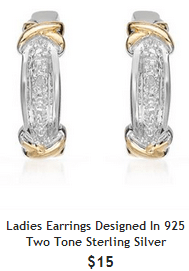 diamond and 925 silver earrings