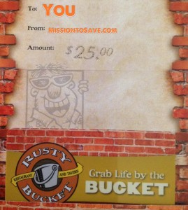 $ 25 Rusty Bucket Gift Card Giveaway, ends 4/9! I Love @MyRustyBucket!