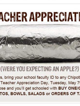 BOGO Chipotle on Teacher Appreciation Day