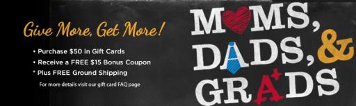 Bonus Gift Card Offers for Moms, Dads and Grads on MissiontoSave.com
