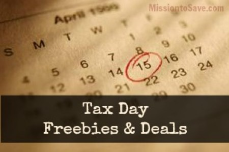 Tax Day Freebies & Deals for 2015 from MissiontoSave.com