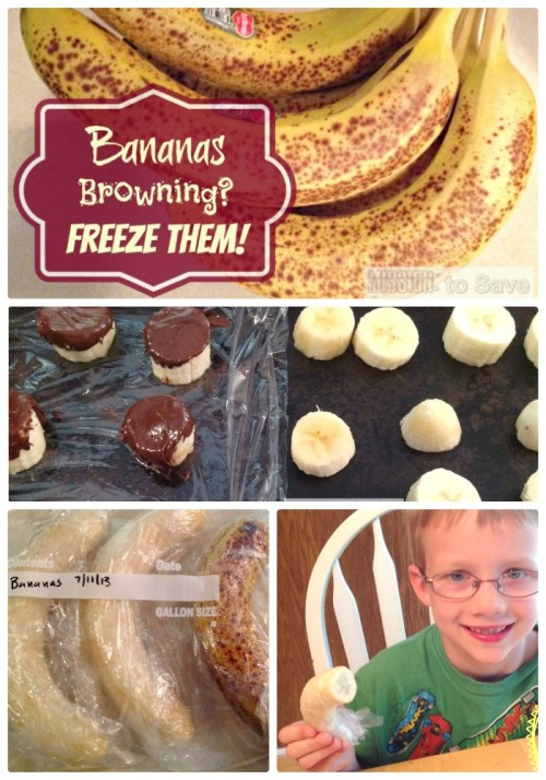 Yes you can freeze bananas! Take advantage of markdowns and don't let those browning bananas go to waste. See tips for how to freeze bananas.