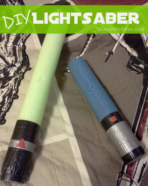 DIY Lightsaber for little Star Wars Fans. Be frugal and use a Pool Noodle!