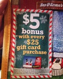 max & erma's bonus gift card offer
