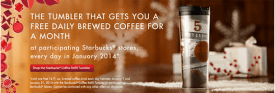 Free startbucks in january
