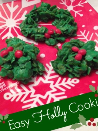 Easy Holly Cookies are delish and festive! See recipe on MissionToSave.com