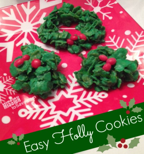 Easy No Bake Holly Cookies
