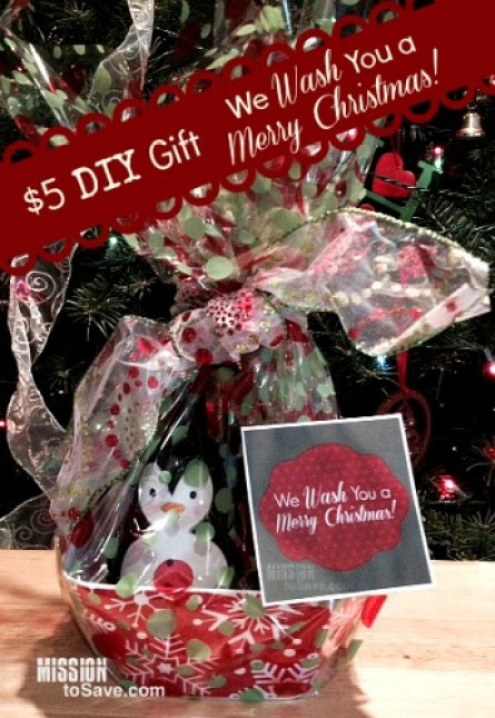 Cute and frugal DIY gift idea : We Wash You a Merry Christmas!  See how to on MissiontoSave.com