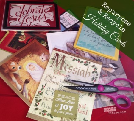 Repurpose and Recycle Holiday Cards (see ideas on missiontosave.com)