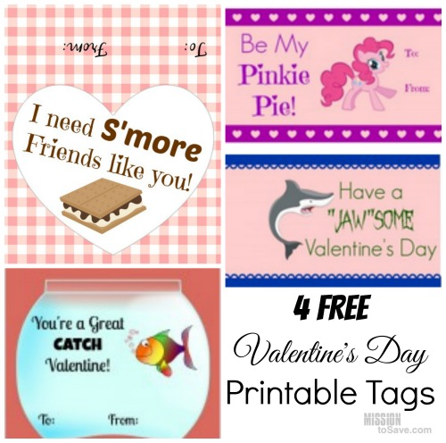 picture regarding Goldfish Valentine Printable called 4 No cost Printable Valentines Working day Tags for SMores, Goldfish
