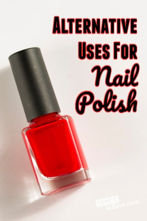 red bottle of polish with title Alternative Uses for Nail Polish