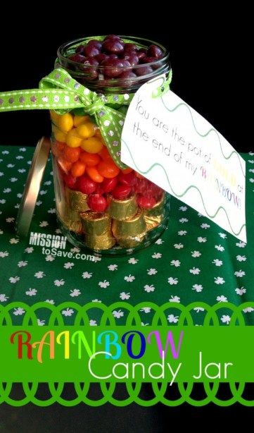 Make your own DIY gift- Rainbow Candy Jar! Perfect for St. Patrick's Day or any day! (Free Printable too!)