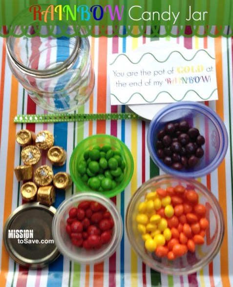 Supplies to make rainbow candy jar gift with printable tags