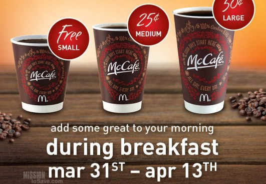 FREE Coffee at McDonalds During Breakfast! (no purchase, 3/31-4/13)