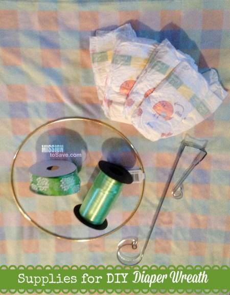 Supplies for DIY Diaper Wreath