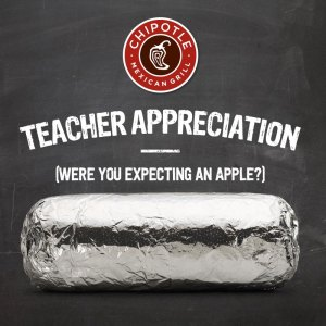 BOGO Chipotle Teacher Appreciation Offer